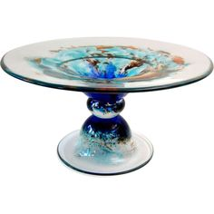 'Sunset Sky' #0502 by Richard Rooze, is the second of a series of eight Glass Pedestal Bowls on cloudy skies. Offered by Oljos Glass Concepts on RubyLUX.