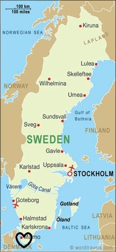 Location: Sweden is a Scandinavian nation, located in northern Europe. It shares borders with two other Scandinavian countries, Finland and Norway. Voyage Suede, Sweden Travel, Sweden Map, Italy Travel, Kingdom Of Sweden, Umea, Scandinavian Countries, Baltic Sea, Corsica