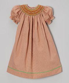 Take a look at this Dark Orange Geometric Bishop Dress - Infant, Toddler & Girls on zulily today!