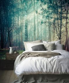 Nature Forest wall mural Peel and stick Gloomy Trees wallpaper Watercolor wallpaper Kids room wall mural Baby Nursery wallpaper So dekorieren Sie I Baby Nursery Wallpaper, Kids Room Wallpaper, Wall Wallpaper, Adhesive Wallpaper, Photo Wallpaper, Tree Wallpaper Bedroom, Wallpaper Ideas, Cozy Bedroom, Bedroom Decor