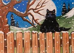 CAT ACEO Black cat on the Fence  -   by Pryjmak