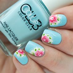 Check out this adorable blue floral nail art design. The nails are painted in… - nail art galleries Rose Nail Art, Floral Nail Art, Rose Nails, Spring Nail Art, Spring Nails, Spring Art, Fun Nails, Pretty Nails, Bright Summer Nails