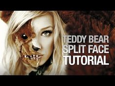 Scary teddy bear split face halloween tutorial - YouTube