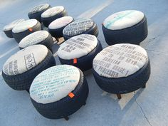 re-puposed tires used for an ottoman or outside seating. will go great with my racing tire vanity! Tire Furniture, Trendy Furniture, Recycled Furniture, Outdoor Furniture, Tire Ottoman, Chair And Ottoman, Ottoman Ideas, Ottoman Cover, Eco Deco