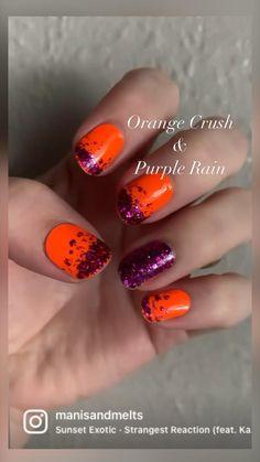Orange Crush, Color Street Nails, Purple Nails, Orange And Purple, Toe Nails, Exotic, Nail Designs, Rarity, Colors