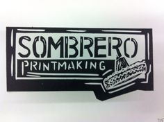 Simple Lino design for logo (ie for back of cards/prints etc. not sure about the top of the sombrero but I like the wording etc