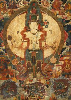 约明代15-16世纪精美巨大的钦日派风格唐卡作品《千手观音》169*119cm