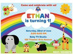 Customized Baby TV Birthday Invitation and Party Kit Baby Tv Birthday, Happy Birthday Banners, 1st Birthday Parties, Baby Shower Invitations, Birthday Invitations, Baby Tv Cake, Baptism Party, Baby Footprints, Disney Coloring Pages