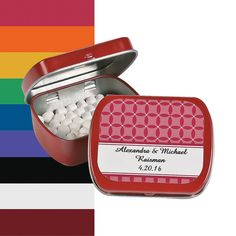 Personalized Patterned Wedding Tins With Mints - OrientalTrading.com