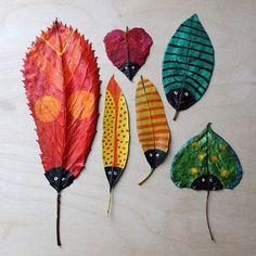 Manualidad con hojas secas sobre la Legada del Otoño