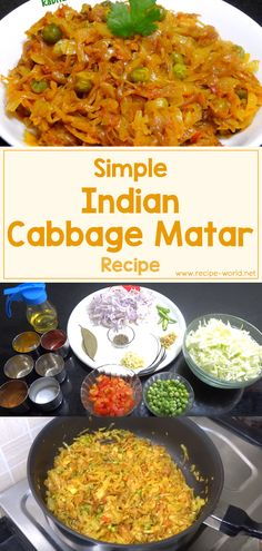 Simple Indian Cabbage Matar Recipe Cabbage is a great choice for those aiming for a low-carb or low-cal diet. Being quite bland, it needs to be seasoned well and cooked correctly to make a tasty dish. Curry Recipes, Diet Recipes, Vegetarian Recipes, Cooking Recipes, Healthy Recipes, Vegetarian Italian, Delicious Recipes, Cooking Tips, Yummy Food