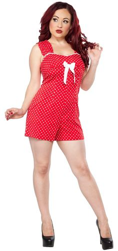 HELL BUNNY DELFINE PLAYSUIT ROMPER RED:  97%Polyester / 3%Elastane  Sale $46, was $58