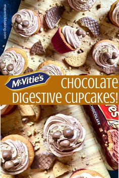 McVitie's Chocolate Digestive Cupcakes; little fluffy brown sugar cakes topped, swirled with chocolate buttercream frosting and topped with McVitie's Chocolate Digestive Nibbles!