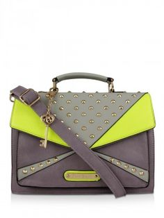 ANNA SMITH Studded Colour Block Satchel now in india by koovs.com