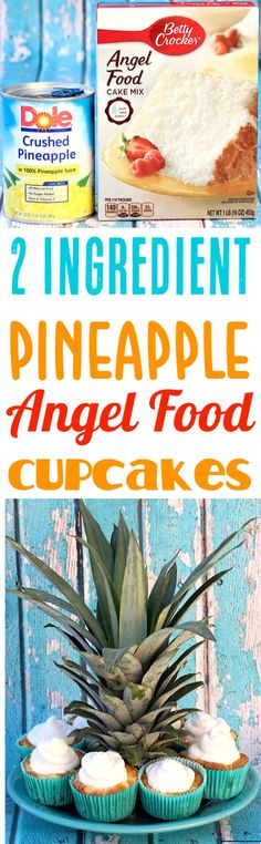 Grab the Cake Mix and Crushed Pineapple, and get ready to make these EASY tropical muffins! It doesn't get easier than just 2 Ingredients! Give them a try this week! Cake Mix Recipes, Fruit Recipes, Cupcake Recipes, Snack Recipes, Cooking Recipes, Desert Recipes, Recipies, Snacks, Angel Food Cupcakes
