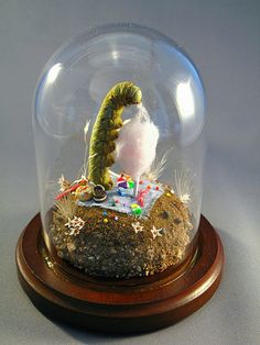 caterpillar eating sweets insect diorama