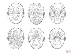 Chinese Opera Masks Coloring Page