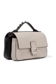 Fendi   Double Baguette micro elaphe and crocodile-paneled leather shoulder bag   NET-A-PORTER.COM