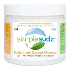 Simple Sudz Fabric & Carpet Cleaner. Hypoallergenic, fragrance-free, biodegradable. Safe around children and pets. Contains saponified coconut oil (organic soap), silicates, soda ash, diatomaceous earth, pumice & water. #unscented #scentfree #fragrancefree