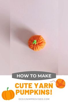 Yarn Crafts For Kids, Toddler Crafts, Crafts To Do, Pumpkin Crafts Kids, Easy Yarn Crafts, Easy Halloween Crafts, Diy Halloween Decorations, Thanksgiving Crafts, Holiday Crafts