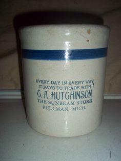 VINTAGE RED WING ? BLUE BAND ADVERTISING STONEWARE CROCK G A HUTGHINSON SUNBEAM