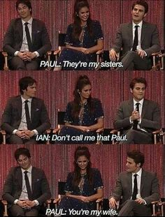 Cast of The Vampire Diaries L to R: Ian Somerhalder, Nina Dobrev, & Paul Wesley. They're at PaleyFest on 22 March 2014 held at the Dolby Theatre in Los Angeles, California, USA. Vampire Diaries Guys, Damon Salvatore Vampire Diaries, Vampire Diaries Poster, Ian Somerhalder Vampire Diaries, Vampire Diaries Wallpaper, Vampire Diaries The Originals, Paul Wesley, Damon And Stefan, Matt Damon