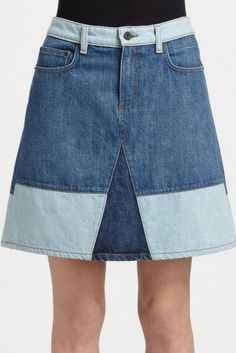 5 Fresh Summer Denim Trends to Try ASAP: Your Jeans Never Looked Cooler - Prouenzer Schouler Color-Block Denim Skirt – Summertime! Denim Skirt Outfits, Denim Outfit, Denim Skirts, Denim Ideas, Denim Trends, Do It Yourself Jeans, Skirt And Sneakers, Summer Denim, Recycle Jeans