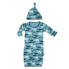 Print Layette Gown Converter & Knot Hat Set in Glacier Whale