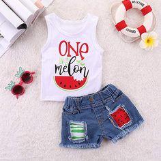 Toddler Baby Girl Kids 2019 Summer Clothes Outfit Cuekondy Cute Letter Watermelon Print Vest Tops T Shirt+Denim Shorts