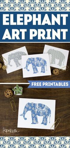 Elephants! Set of three free printable art posters to print and frame. Great for a gallery wall!