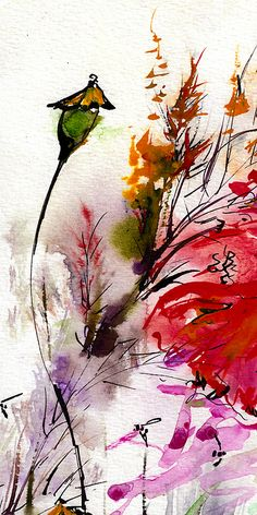And the third part of the triptych - poppies (pods this time!) in watercolor and ink. So pretty!