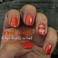 Simple but bold Tokyo Lights accents pop on Coral Coast nail polish strips from Color Street.