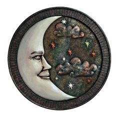$28 Grasslands Road-Celestial Bronze Moon & Stars Wall Plaque Stepping Stone
