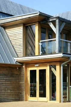 Superbly detailed balcony on eco homes in Bedfordshire. By Roderick James Architects.