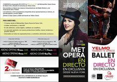 Temporada de #Opera desde el Metropolitan de NYC y #Ballet clásico del #Bolshoi en Yelmo Rosales.