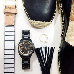 Fossil Black and Rose Gold Chronograph Watch Details: • Black stainless steel  • Clear crystals around the face, rose gold details • 3 sub dials and calendar date window  • 38mm case diameter  • New with tags and box   01201604 Fossil Accessories Watches