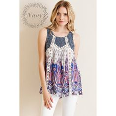 Charming Day Bord Print Top Don't be scared of prints! You've always had an eye for style, that's why we know you'll love the Charming Day Bord Print Tank! This tank features crochet lace details throughout. Keyhole on back with button closure. Non-sheer. Woven. Lightweight.   100% Rayon likeNarly Tops Tank Tops