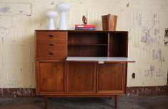 Impressive Midcentury Modern Tall Drop Down Desk Bar Cabinet Sideboard (U.S.A., 1960s) | by Kennyk@k2modern.com