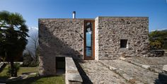 Stone House Renovation in Scaiano. Switzerland by Wespi de Meuron Arch House, Facade House, Architecture Details, Interior Architecture, House On The Rock, Interesting Buildings, Brick And Stone, Stone Houses, House Design