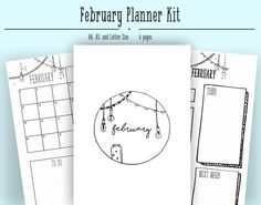 February Monthly Layout PDF in A4, A5, and Letter- Bullet Journal Printable Template - Light Theme- Coloring Page