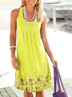 Soft Pleated Summer Dress - Small Flower Prints / Knee Length / Sleeveless Long Midi Dress, Summer Dresses For Women, Ladies Dresses, Dress Summer, Buy Dress, Tank Dress, Plus Size Dresses, Mini Dresses, Women's Dresses