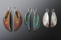 Jane Adam jewellery - Long leaf earrings in dyed anodised aluminium with silver wires Size on left: 60 x 25mm