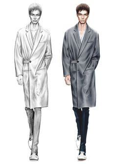 Alessia Zambonin - Istituto Marangoni Fashion Illustration, sketch and rendering #Marni #fashionsketch #menswear #afrohair #fashiondrawing #pantone #copic #fashionillustration #man #malemodel #woolcoat #tennisshoes #grey #AfroAmerican #catwalkshow