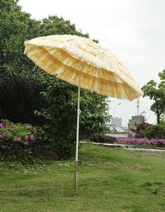 6ft Wide Thatched Beach Umbrella Outdoor Yard Tilt Shades Market Patio  Furniture