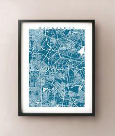Bangalore, India map art by CartoCreative