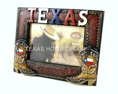 TEXAS Picture Frame With Cowboy Boots Texas Map Leather Look For 4x6 Photo