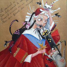 Richelieu et ses chats acrylique sur papier