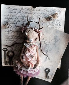 Купить Зачарованный ЛЕС - бежевый, фея, тедди, олень, плюш, Алёна Жиренкина, платье, мишка