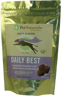 Pet Naturals of Vermont Daily Best for Dogs (Vitamin Supplement)   These are the only vitamins I can get Yoshi to take...great price @ Swansonvitamins.com Dog Vitamins, Daily Vitamins, Animal Nutrition, Pet Nutrition, Ginger Bug, Chicken Livers, Convenience Food, Vitamins And Minerals, Organic Recipes