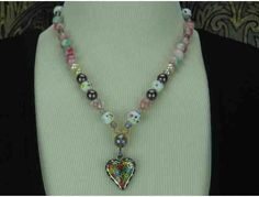 1/Kind Lovely & Precious Necklace w/Pearls, Jasper, Painted Porcelain Beads, and HEART! http://www.biddingforgood.com/ART4GOOD